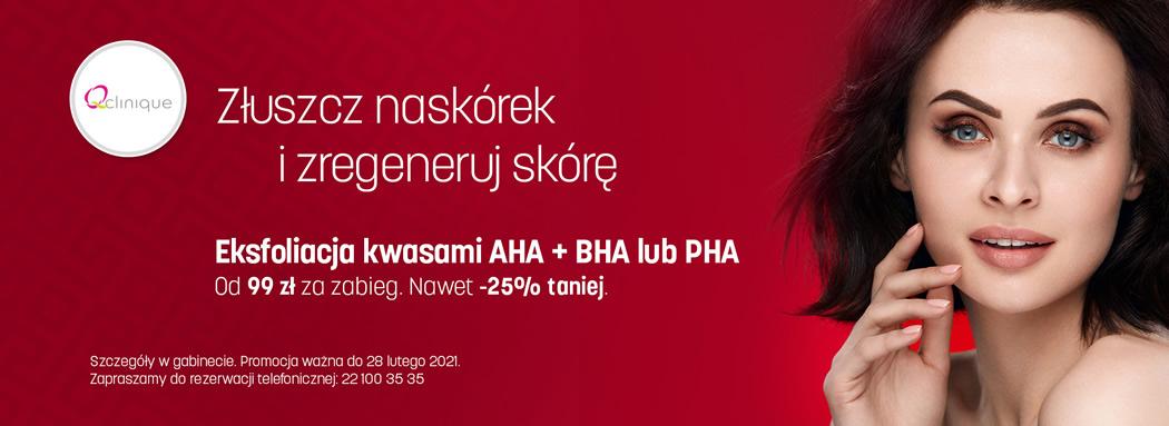 Eksfoliacja kwasami AHA + BHA lub PHA